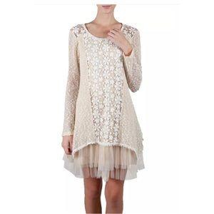 Anthropologie Ryu Flower Crochet Detailed Dress
